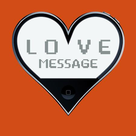 surrealistic: Heart shaped telephone: love message.