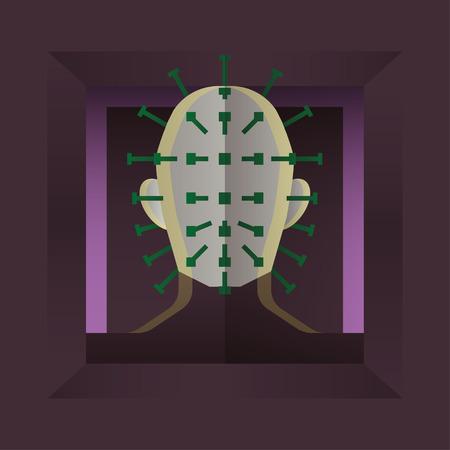 stabbed: Vectoriales editables representa clavo cabeza de monstruo