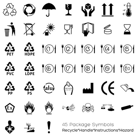 Useful symbols for industry that can be placed on packaging in o​r​der to provide information about the containing objects. Varied topics are covered: handling, storage, portions, expiry date, conformations, manufacturing.​ 向量圖像