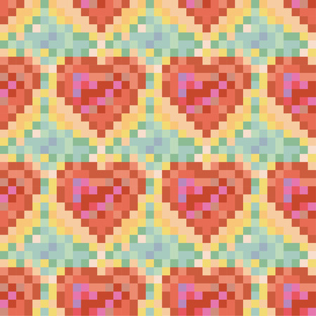 Seamless heart pattern.Color version. Pixel art. Vector