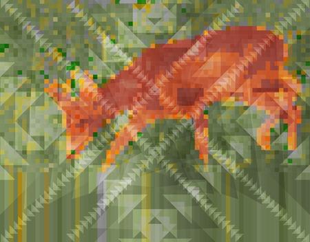 grazing: Pixelated Deer with Triangles Overlay. Deer Grazing in the Grass.
