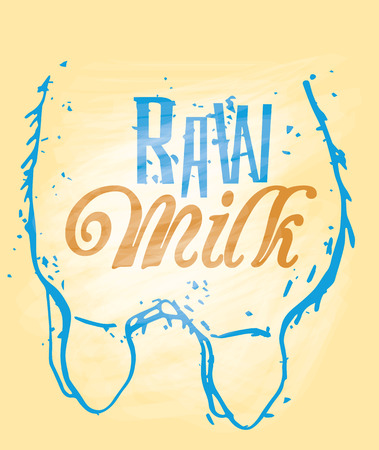 udder: Raw Milk Signage in a Cow Udder. Hand drawn. Illustration