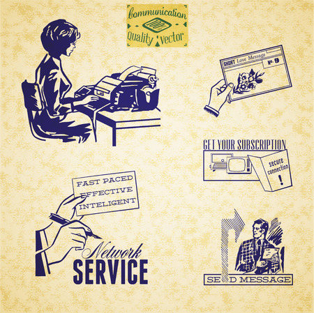 Vintage communication illustration set. Secretary, hands with message. Vector