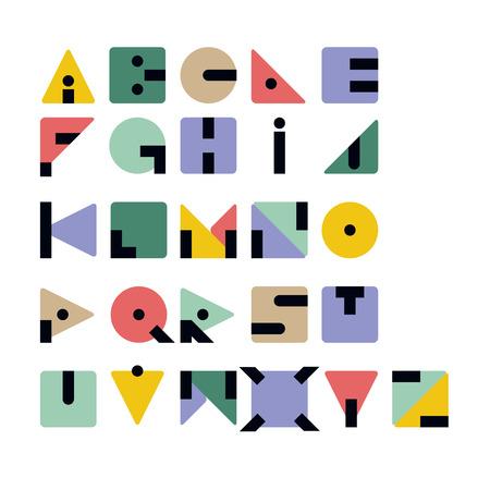 geometrical shapes: Geometric Retro Typeface Consisting of Basic Geometrical Shapes
