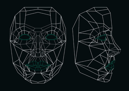 Robot face line art: front and side. Geometrical. Vector