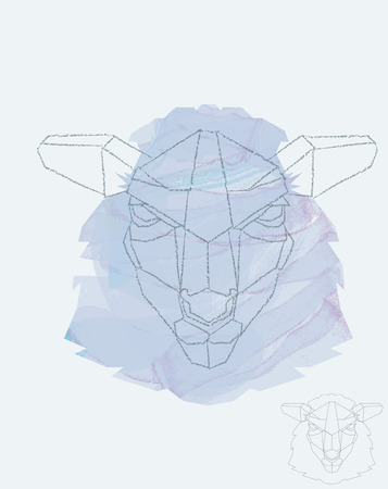 Sheep depiction in geometric style, watercolor underneath Vector