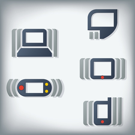 emitting: Computer and Mobile Technology Icons. Dynamic depiction. Illustration