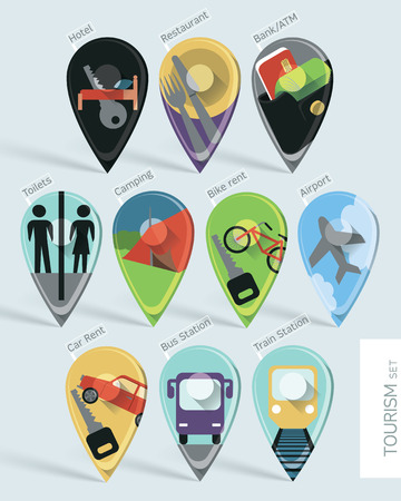 accomodation: Wonderfully designed flat set of ten map pins with long shadows created using gradient mesh. Travel symbols for accomodation, transport, utilities. Illustration