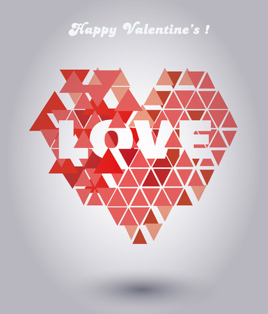 dissolving: Valentines heart made out of triangle. Inscriptions:LOVE, Happy Valentines. Illustration