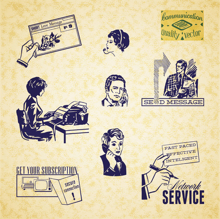 Vintage communication illustration set Vector