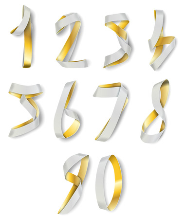 numerals: Gold and White Ribbon Numerals for Infographics and Anniversaries Illustration