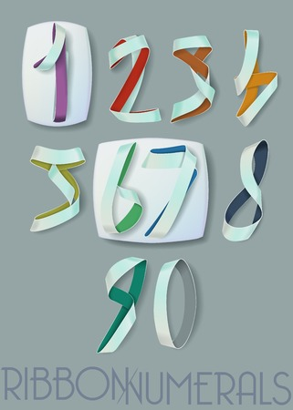 Ribbon Numerals for Infographics and Anniversaries on Gray Vector