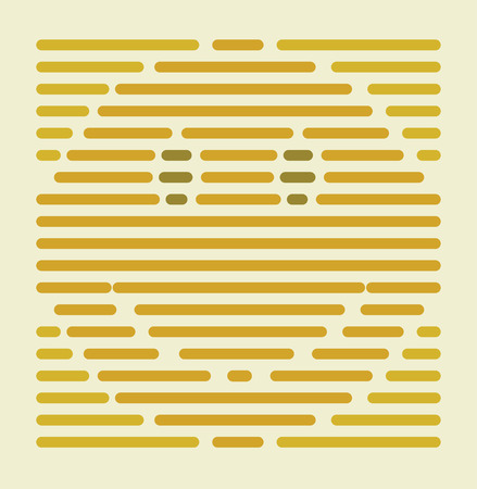 yellow banded: Striped style abstract sign of a smiley face. Illustration