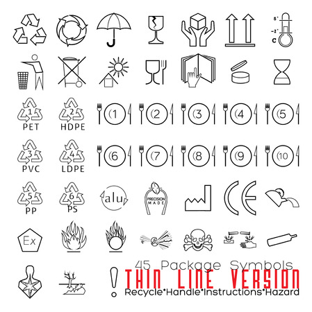 waste recovery: Collection of 45 Packaging Symbols(recycle, handle, instructions, hazard). Thin Line Version. Illustration