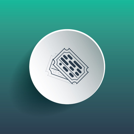 Ticket Icon on circle. Dropped shadow is a gradient mesh.