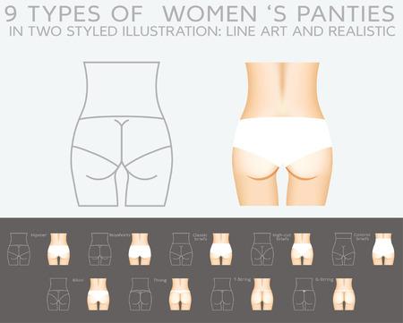 g string: Underwear vector set: 9 types of women Illustration