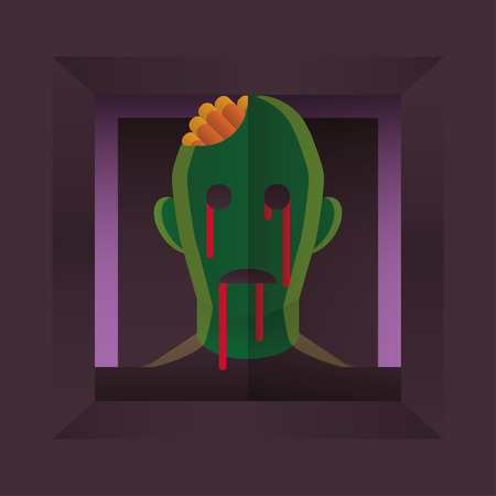 Fearful Halloween Character: Zombie. Flat Style. Vector