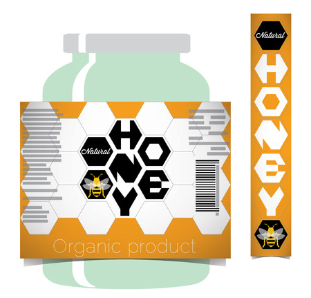 nectars: Honey label that includes a mockup style with jar and lid sticker.
