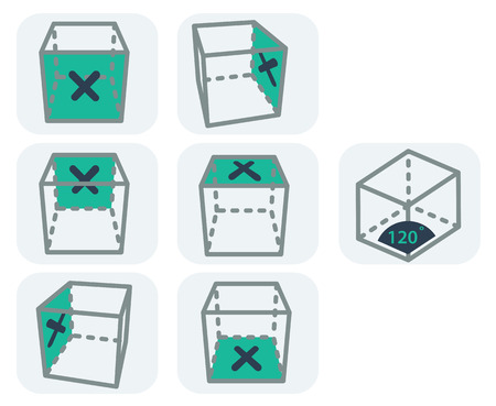 indicate: Useful icons for user interface of 3d software that can indicate a view port, a face choice or an axonometric positioning. Illustration