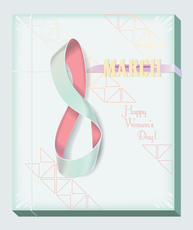emphasise: Pale colors are used to suggest feminity and the illusion of a painting canvas to emphasise it in a 8 March theme vector greeting card. The digit 8 is a delicate ribbon.