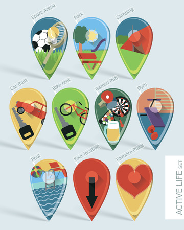 active life: Wonderfully designed flat set of ten map pins with long shadows created using gradient mesh. These depict an active life for people that love to keep fit and travel. Illustration