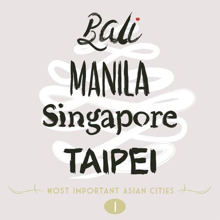bali province: Asian Cities Set- Bali, Manila, Taipei in Brush Mode