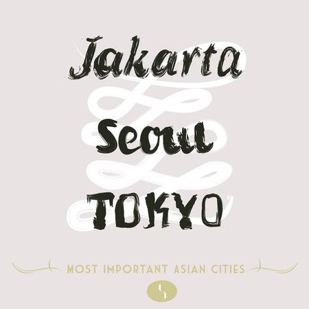 Asian Cities Set- Jakarta, Seoul, Tokyo in Brush Mode