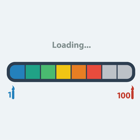 hotter: Birthday Card Metaphor: Loading.Loader ranging from 1 candle to 100.