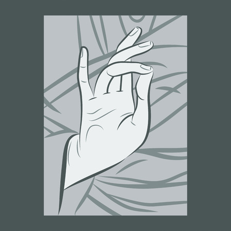 iconography: Blessing hand gesture as depicted in Christian iconography, illustrated with varied width strokes.