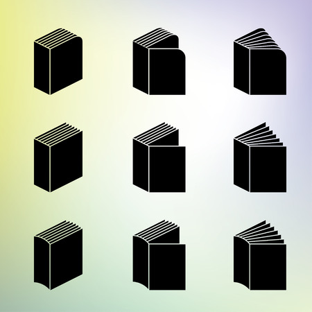 soft background: Books set useful as icons. 9 elements that are black on soft background.