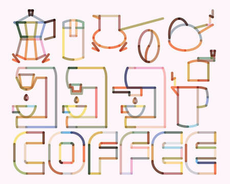 percolator: Coffee Blend Rounded Stroke Poster. Contains Symbols of Coffee Brewers Illustration