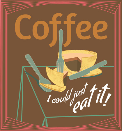 metaphoric: Coffee Quote and Original Metaphoric Illustration. Slicing a Cup of Coffee