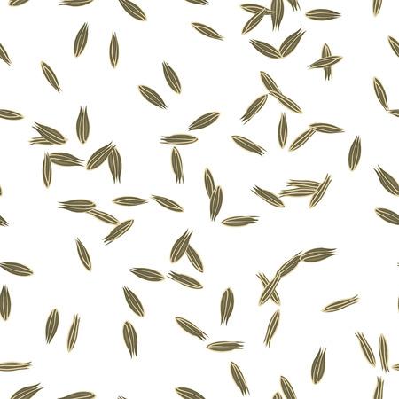 cumin: Cumin Seeds Seamless Pattern. Flat Style Design. Illustration