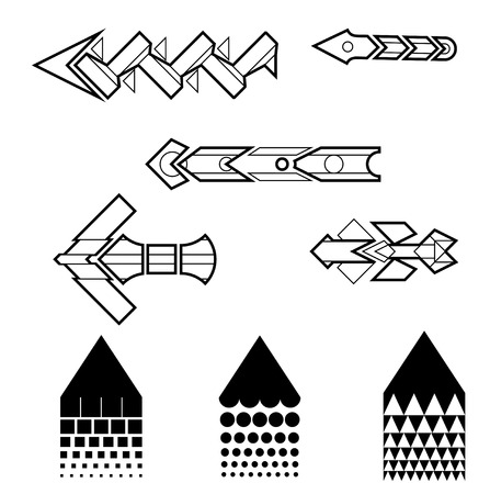 Line Art Arrows Set in Monochrome Style. Complicated Geometrical Shapes. Vector
