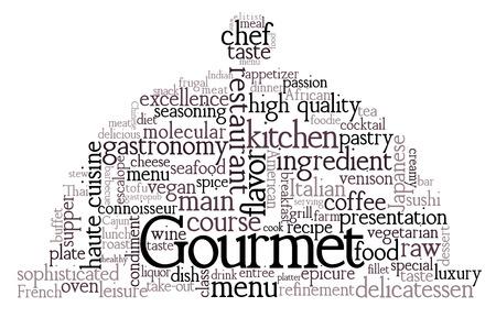 gourmet: Gourmet Theme Word Cloud Illustration