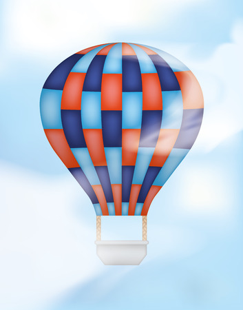 Hot Air Balloon with Blue and Red Vector