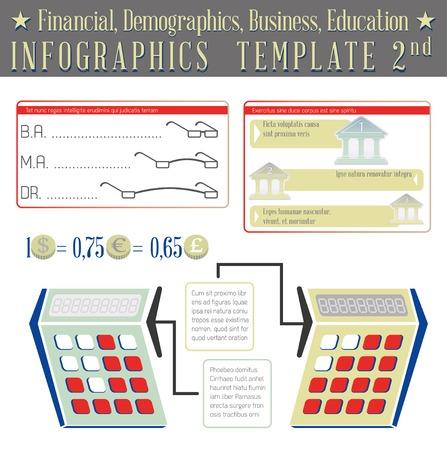 demographics: Financial, Demographics, Business, Education. Infographics template 02
