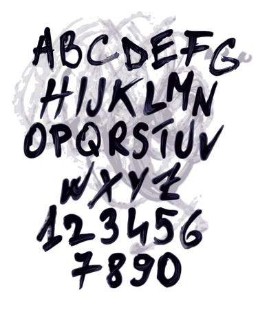 separately: Grunge vector alphabet with numbers. Each elementis groupped separately.