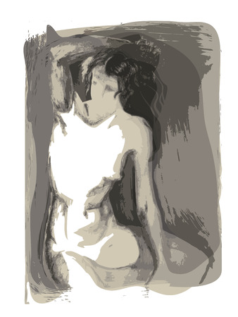 Watercolor layered sketch of a woman sitting. Vector monochrome that contains transparecies.