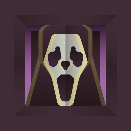 Fearful Halloween Character: Screaming Skull. Flat Style Design. Vector