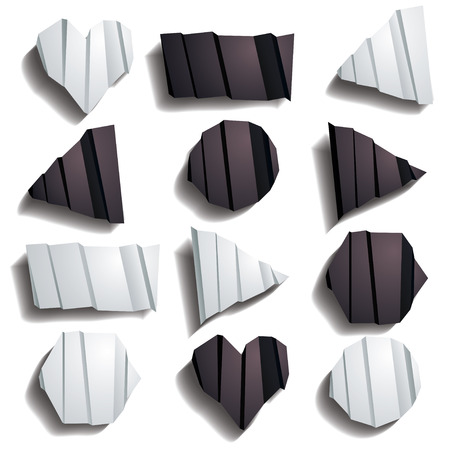 Different Shapes of Folded Paper in White and Black Vector