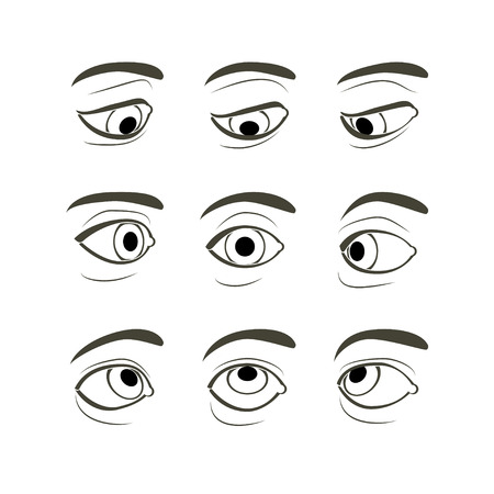 left right: Front View of the Right Human Eye in Nine View Modes: Front, Sides (Left and Right), Up, Down, Up and Sides(Left and Right), Down and Sides(Left and Right) Illustration