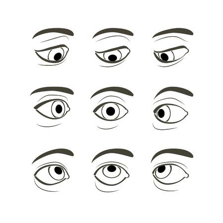 para baixo: Vista frontal do Olho Direito Humano em Modos de Visualização de Nove: frente, laterais (esquerdo e direito), para cima, para baixo, para cima e lados (direito e esquerdo), Baixo e verso (esquerda e direita) Ilustração