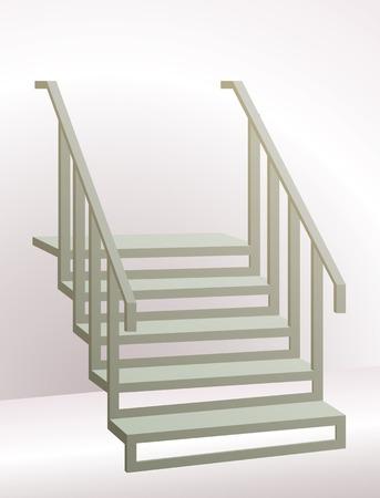 bajando escaleras: Escaleras con el pasamano que va para arriba. Perspectiva se ve reforzada por los gradientes en el fondo.