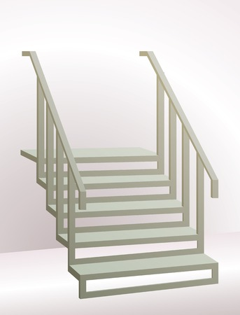 hand rail: Stairs with Railing Going Up. Perspective is Enhanced by Gradients in the Background.