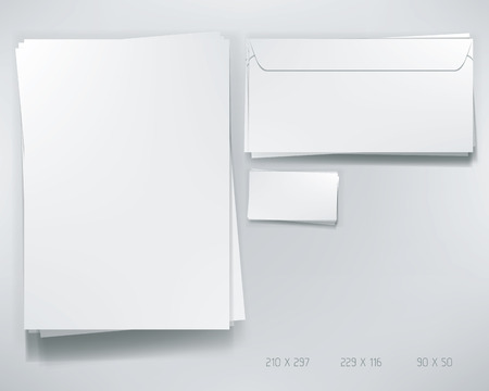 brief papier: Stationery Stacked Elements. Mock-up van de A4 Document, de Envelop en de Business Card.