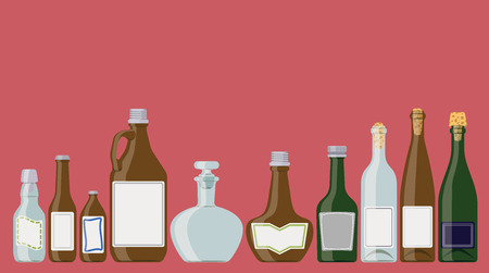 brandy: Bottles set: alcoholic beverages in a row as if standing on a shelf. These are wine, champagne, brandy, beer bottles.