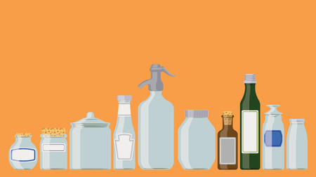 Bottles set: food containers in a row as if standing on a shelf. Vector