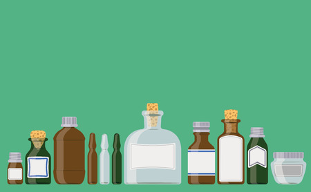 Bottles set: medicine containers in a row as if standing on a shelf.