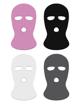 Set of four ski masks that can be placed on the head of a person.